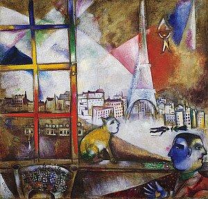 Hda paris par la fen tre de marc chagall for Histoire de la fenetre