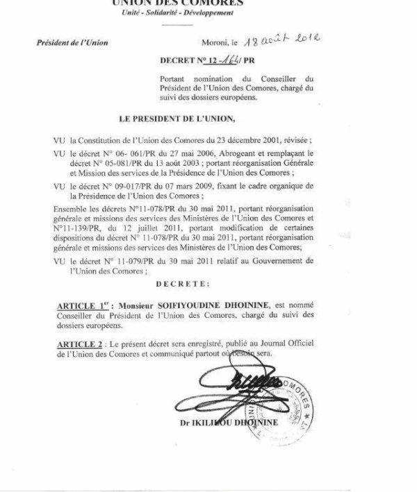 Nomination de Soifiyoudine DHOININE pour représenter son frère le président Ikililou en Europe